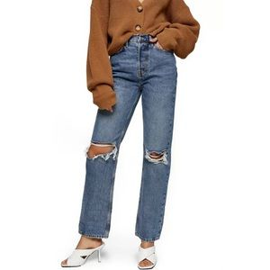 Topshop Ripped Dad Jeans High Rise Button Fly